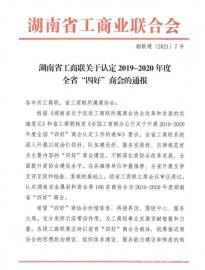 """竞技宝官网福建商会被评为2019-2020年度湖南省""""四好""""商会"""
